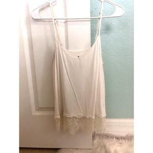 AE White tank top with lace trim